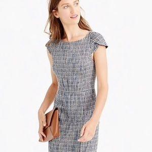 J. Crew Blue Petal-sleeve Dress Flecked Tweed 12
